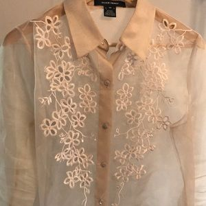 ELLEN TRACY Sheer Floral Embroidered Blouse -Sz 12